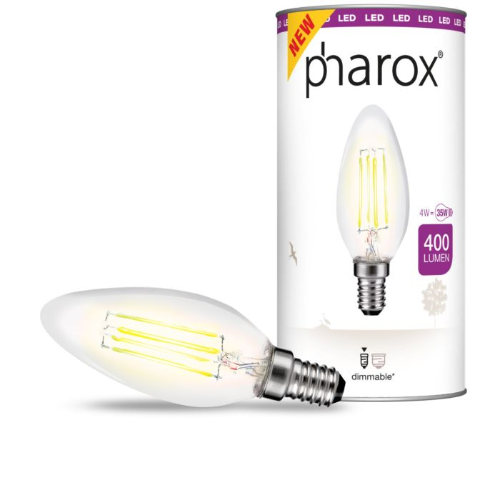 Pharox-LED-svjetiljka-za-svijeće-prozirna-E14-4W-400-lumena