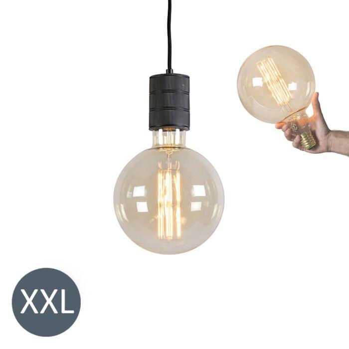Viseća-svjetiljka-Megaglobe-crna-sa-zatamnjenom-LED-svjetiljkom