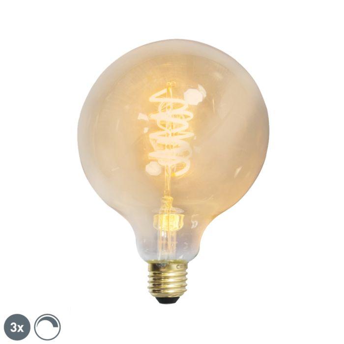 Komplet-od-3-E27-zatamnjenih-LED-uvijenih-niti-G125-zlatna-linija