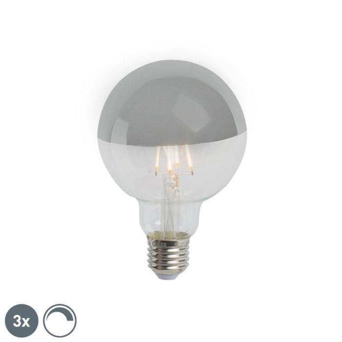 Set-od-3-E27-prigušljiva-LED-polu-ogledala-G95-srebro-280lm-2300K