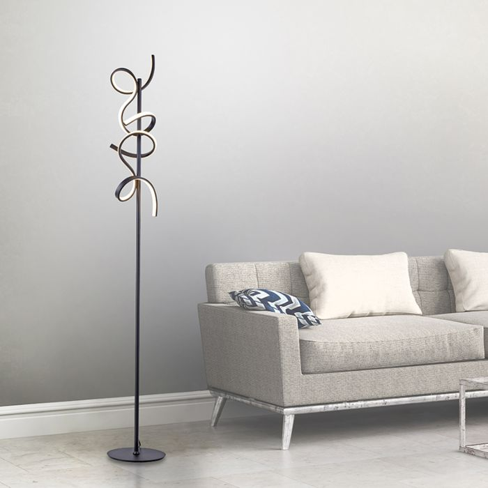 Dizajn-podna-svjetiljka-crna-s-LED-i-prigušivačem---Krisscross