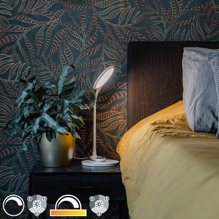 Stolna-i-zidna-svjetiljka-bijela,-uključujući-LED-s-prigušivačem-na-dodir---Joni