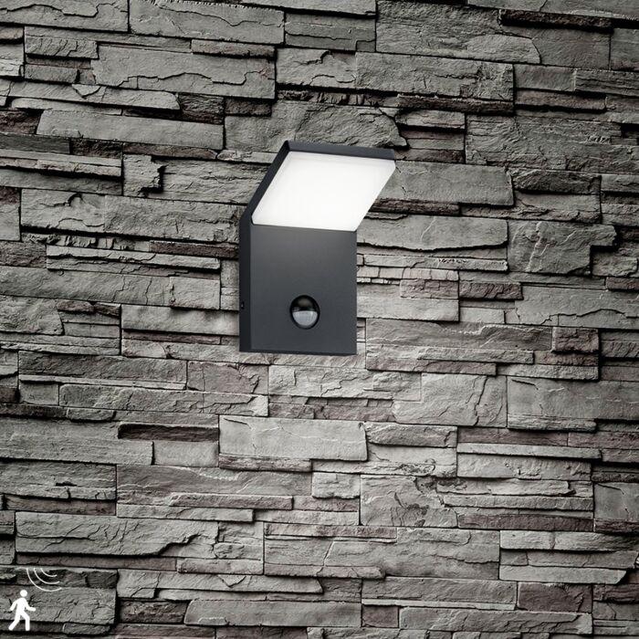 Zidna-svjetiljka-siva,-uključujući-LED-IP54-s-detektorom-pokreta---Marian