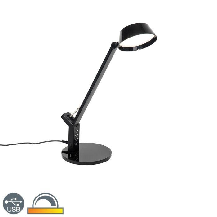 Dizajn-stolne-svjetiljke-crne-boje,-uključujući-LED-s-USB-vezom---Edward
