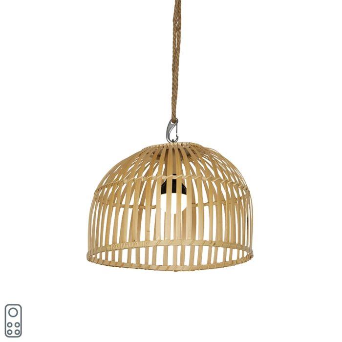 Vanjska-viseća-svjetiljka-od-bambusa-IP44-uključujući-LED-prigušivač-RGB---Maurice