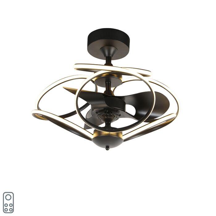 Dizajn-stropnog-ventilatora-crne-boje-s-daljinskim-upravljačem,-uključujući-LED---Kauv