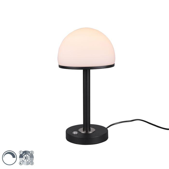 Moderna-stolna-svjetiljka-crna-s-LED-diodom-s-prigušivačem-na-dodir---Bowa