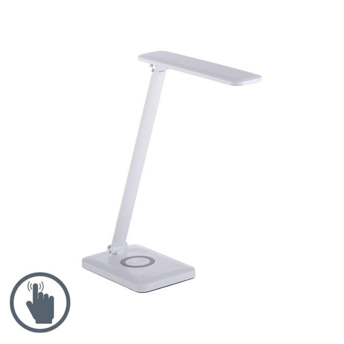 Dizajn-stolna-svjetiljka-bijela,-uključujući-LED-s-prigušivačem-na-dodir---Tina