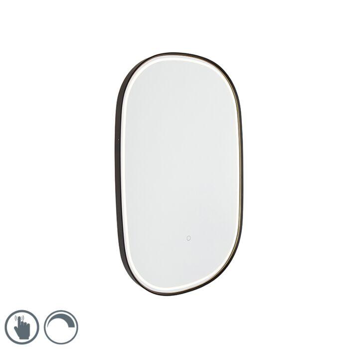 Ogledalo-za-kupaonicu,-crno-sa-LED-diodom-s-ovalnim-zatamnjivačem-na-dodir---Miral