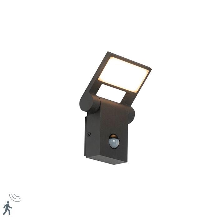 Vanjska-zidna-svjetiljka-siva,-uključujući-LED-IP54-sa-senzorom-pokreta---Zane