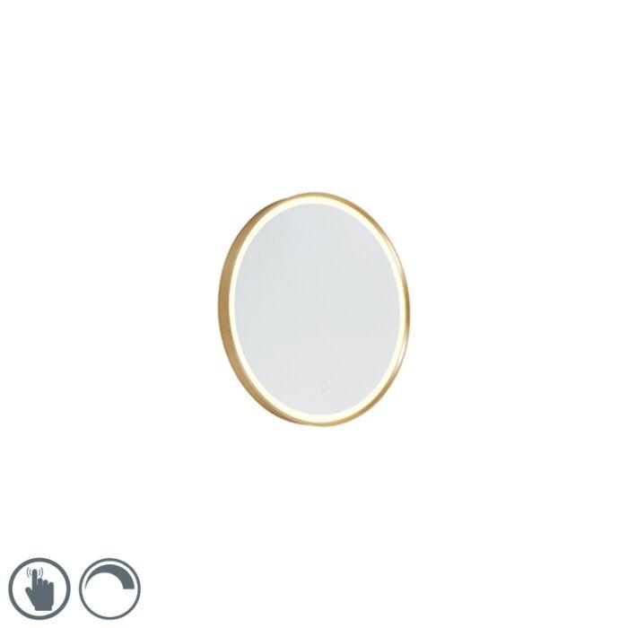 Okruglo-kupaonsko-ogledalo-zlatno-50-cm,-uključujući-LED-s-prigušivačem-na-dodir---Miral
