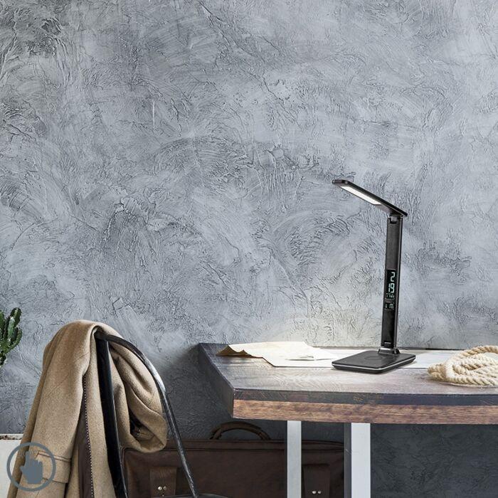 Moderna-stolna-svjetiljka-crna-s-LED-diodom-s-prigušivačem-na-dodir---Roel