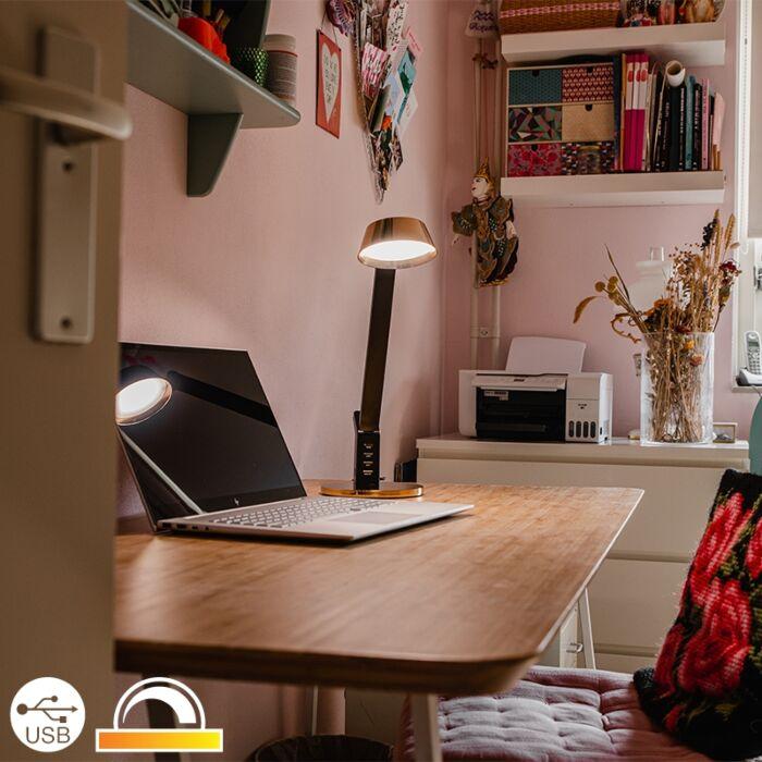 Stolna-svjetiljka-crna-s-mesingom,-uključujući-LED-s-USB-om---Edward