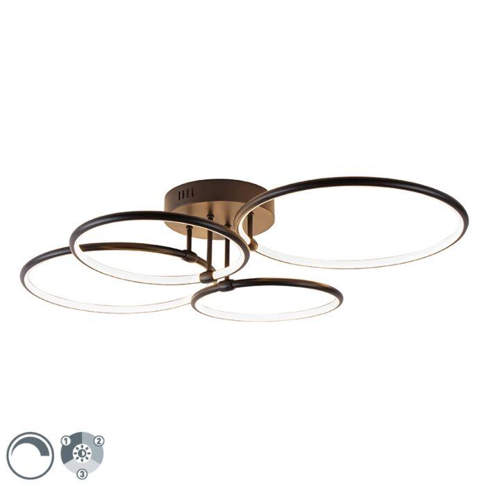 Stropna-svjetiljka-crna,-uključujući-LED-svjetla-u-3-koraka,-4-svjetla---Joaniqa