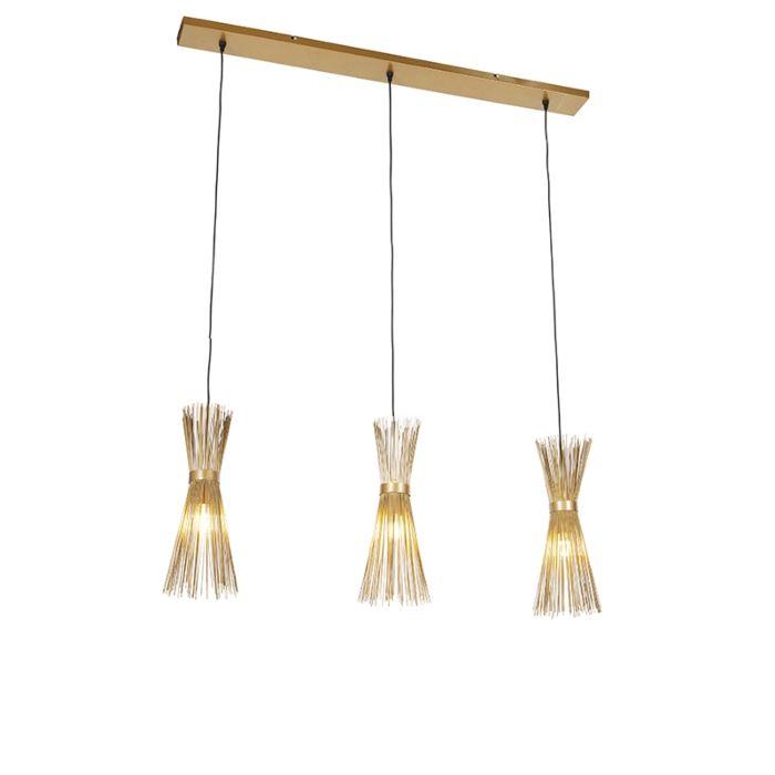 Art-Deco-viseća-svjetiljka-zlatna-3-svjetla---Metla