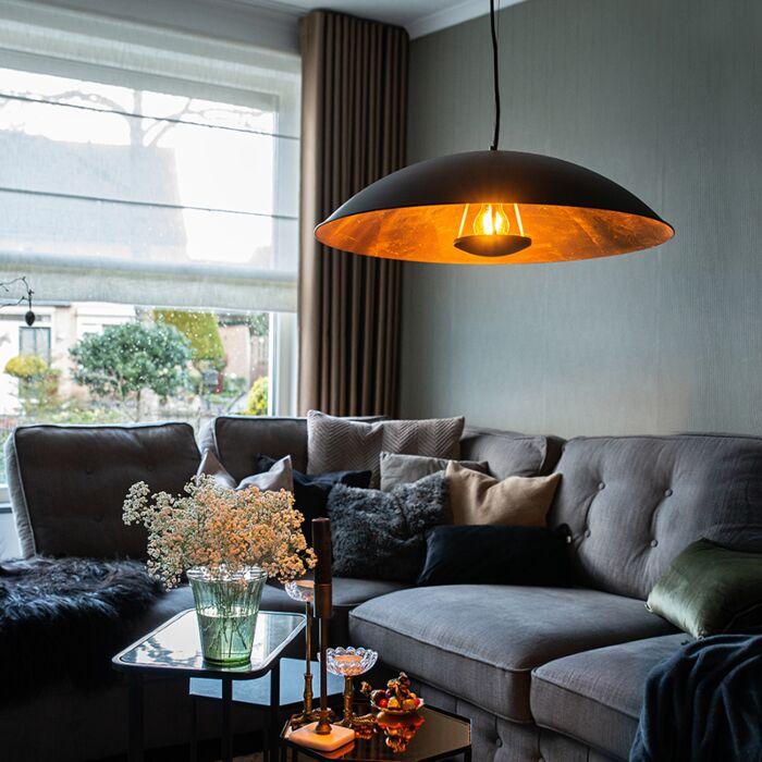 Vintage-viseća-svjetiljka-crna-sa-zlatom-60-cm---Emilienne-Novo