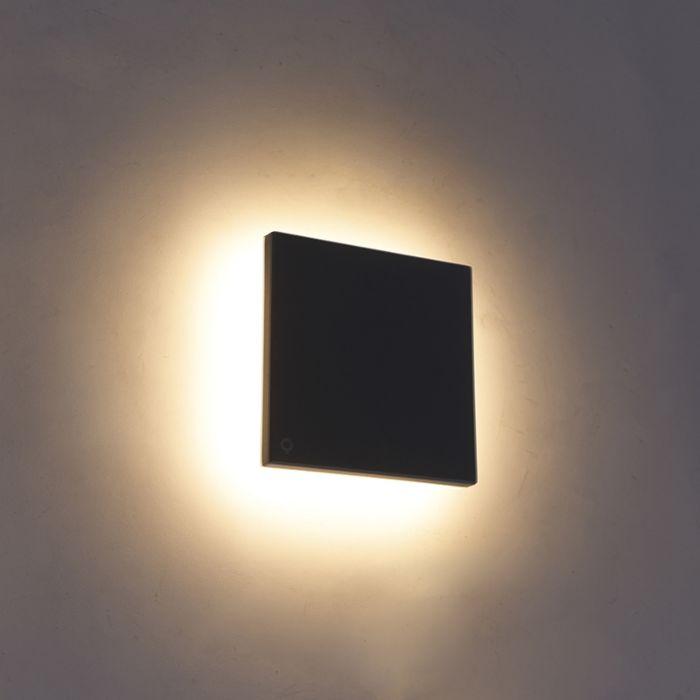 Dizajn-zidna-svjetiljka-siva-aluminij-15-cm,-uključujući-LED-10W---Skyf