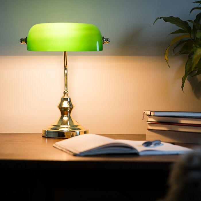 Klasična-stolna-svjetiljka-/-bilježnička-svjetiljka-mesing-sa-zelenim-staklom---Banker