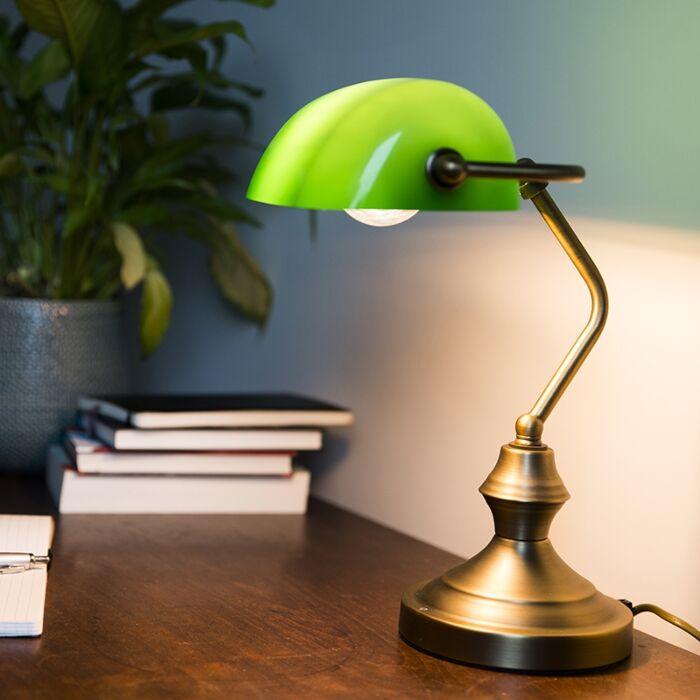 Klasična-stolna-svjetiljka-/-bilježnička-svjetiljka-brončana-sa-zelenim-staklom---Banker