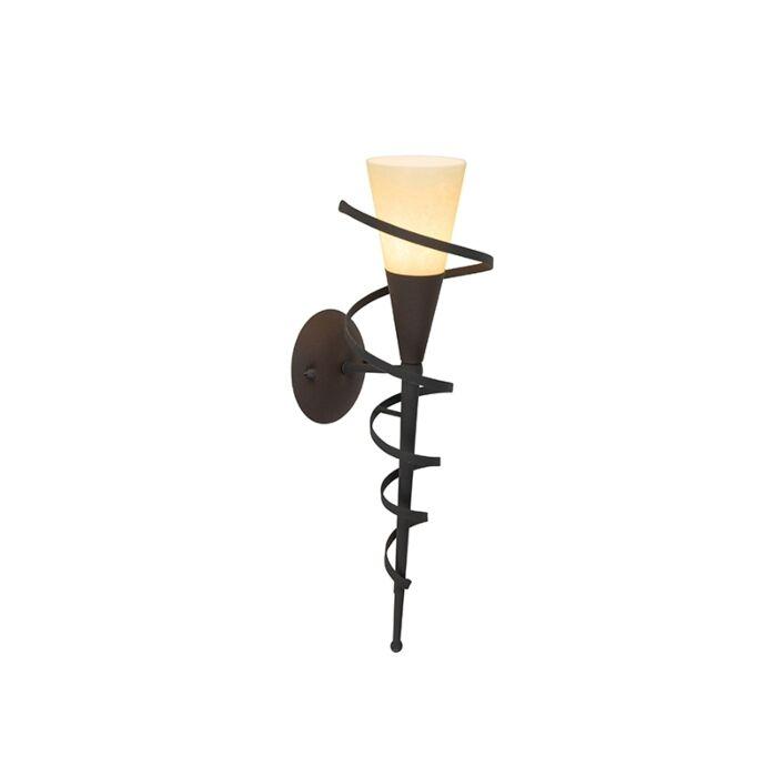 Country-zidna-svjetiljka-hrđa-smeđa-s-kremastim-staklom---Castle