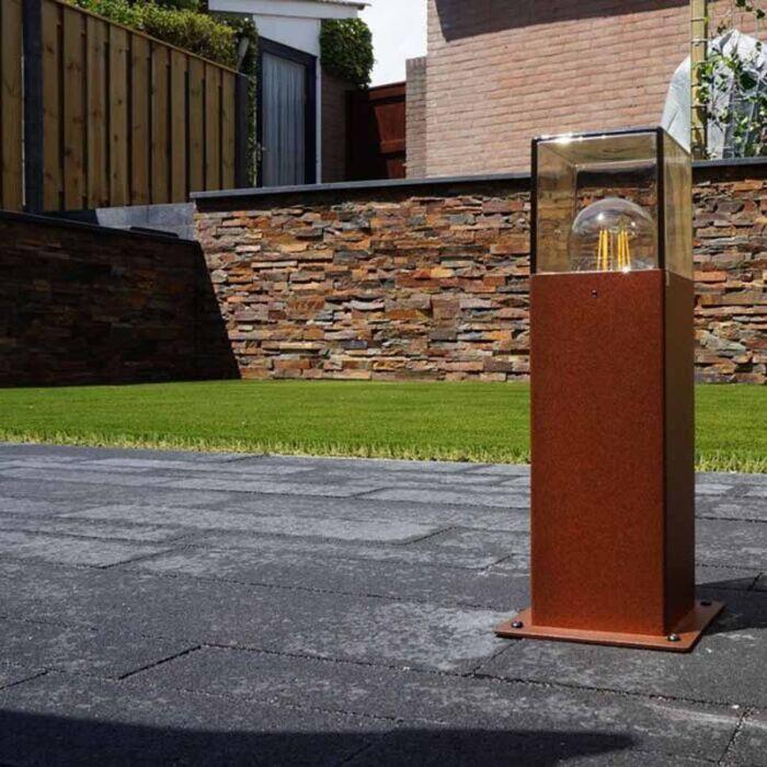Industrijska-stojeća-vanjska-svjetiljka-30-cm-zarđalo-smeđa-IP44---Danska