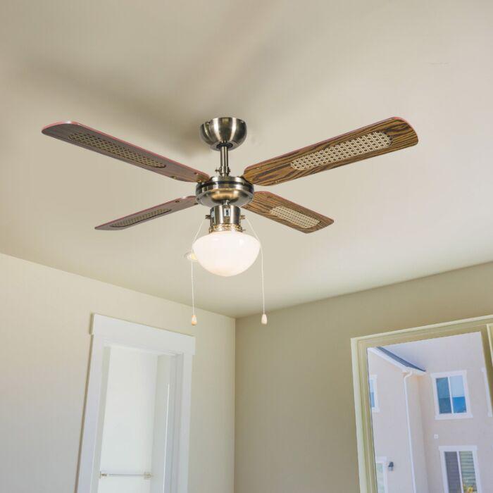 Industrijski-stropni-ventilator-s-lampom-drvo-od-100-cm---Vjetar