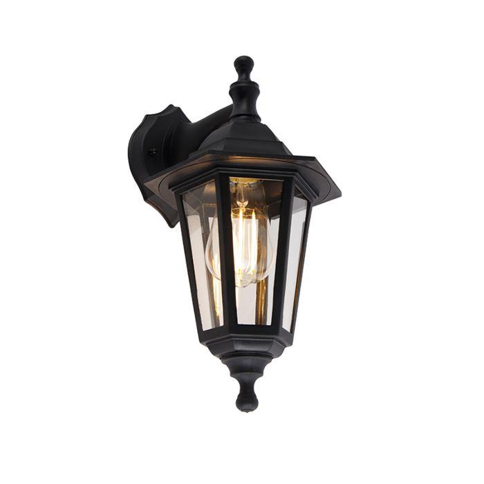 Romantična-vanjska-zidna-svjetiljka-crna-IP44---New-Haven