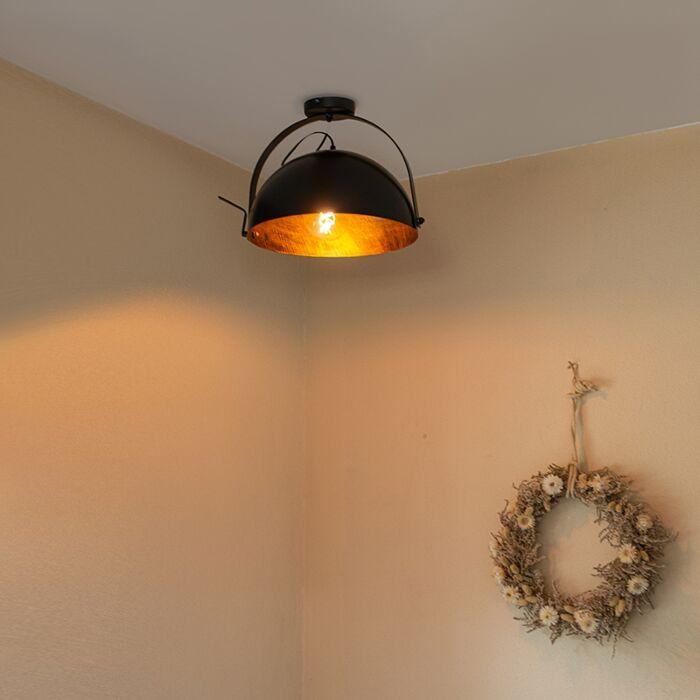Industrijska-stropna-svjetiljka-crna-sa-zlatnim-nagibom---Magna