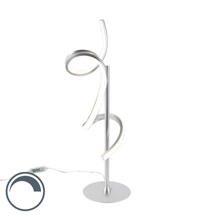 Dizajn-stolna-svjetiljka-srebrna-s-LED-i-prigušivačem---Krisscross