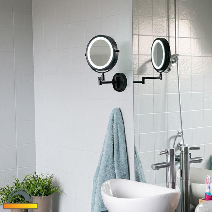 Dizajn-kupaonsko-ogledalo-crno,-uključujući-LED-podesivu-IP44---Vicino