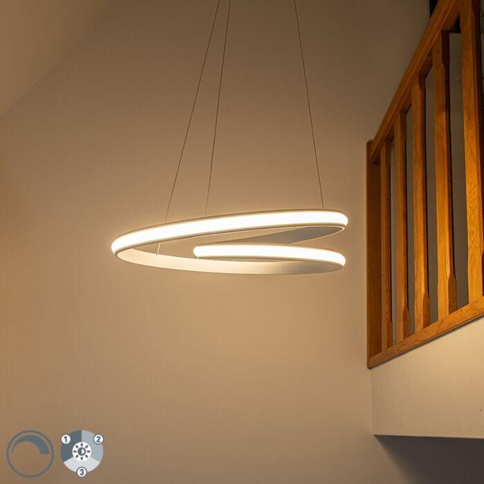 Moderna-viseća-svjetiljka-bijela-55-cm,-uključujući-LED-trostupanjsku-zatamnjivu---Rowan