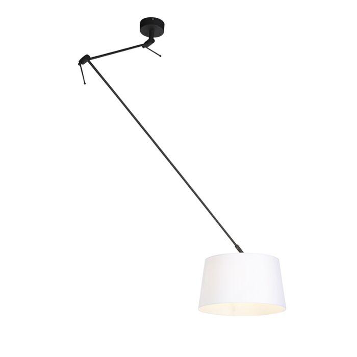 Viseća-svjetiljka-s-lanenom-sjenilom-bijela-35-cm---Blitz-I-crna