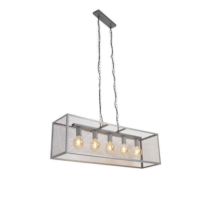 Industrijska-viseća-svjetiljka-starinsko-srebrna-5-svjetlosna---Cage-Robusto