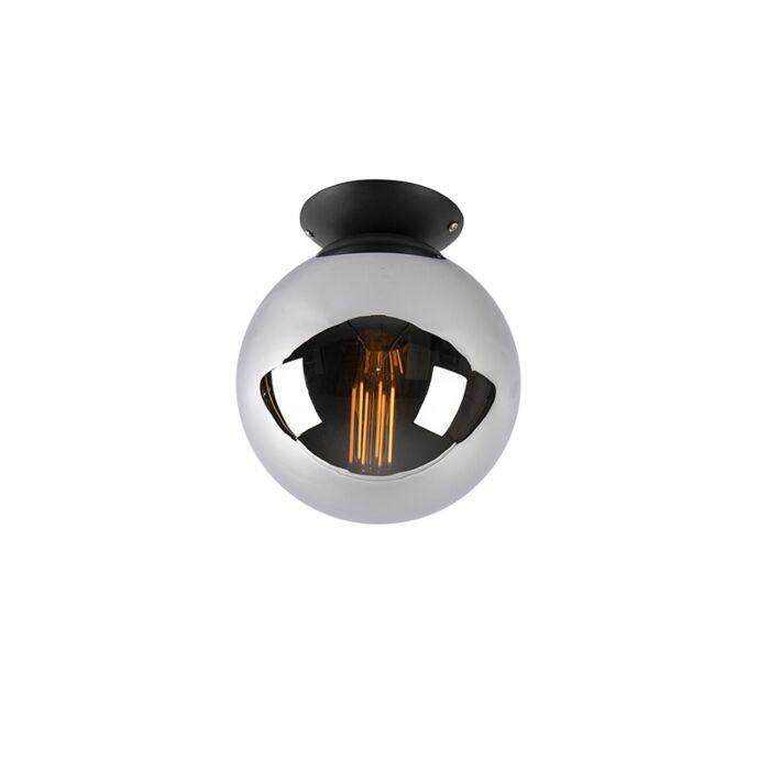 Art-deco-stropna-svjetiljka-crna-s-dimnim-staklom---Pallon