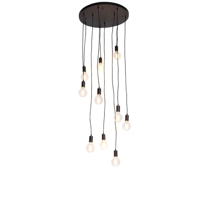 Moderna-viseća-svjetiljka-crna-60-cm-10-svjetiljki---Facil