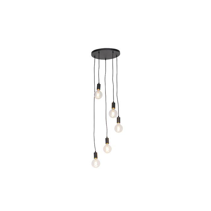 Moderna-viseća-svjetiljka-crna-35-cm-5-svjetla---Facil
