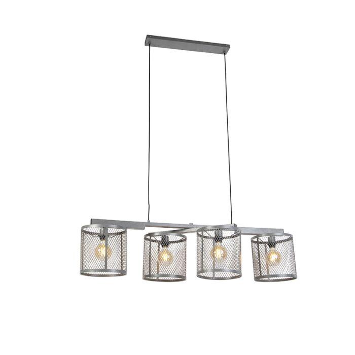 Industrijska-viseća-svjetiljka-starinsko-srebrna-sa-4-svjetla---Cage-Robusto